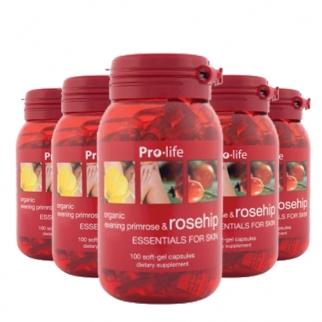 [프로라이프] 유기농 달맞이꽃종자유(갱년기영양제) 함유 로즈힙200캡슐 6개