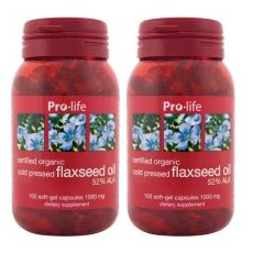 [프로라이프] 플랙씨드 오일(아마씨오일) 100캡슐 2개 //식물성오메가3
