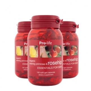 [프로라이프] 유기농 달맞이꽃종자유(갱년기영양제) 함유 로즈힙200캡슐 3개