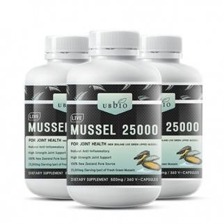 [유비바이오] 생 초록입홍합25000mg 360캡슐(고함량) 3개 무릎관절에좋은영양제